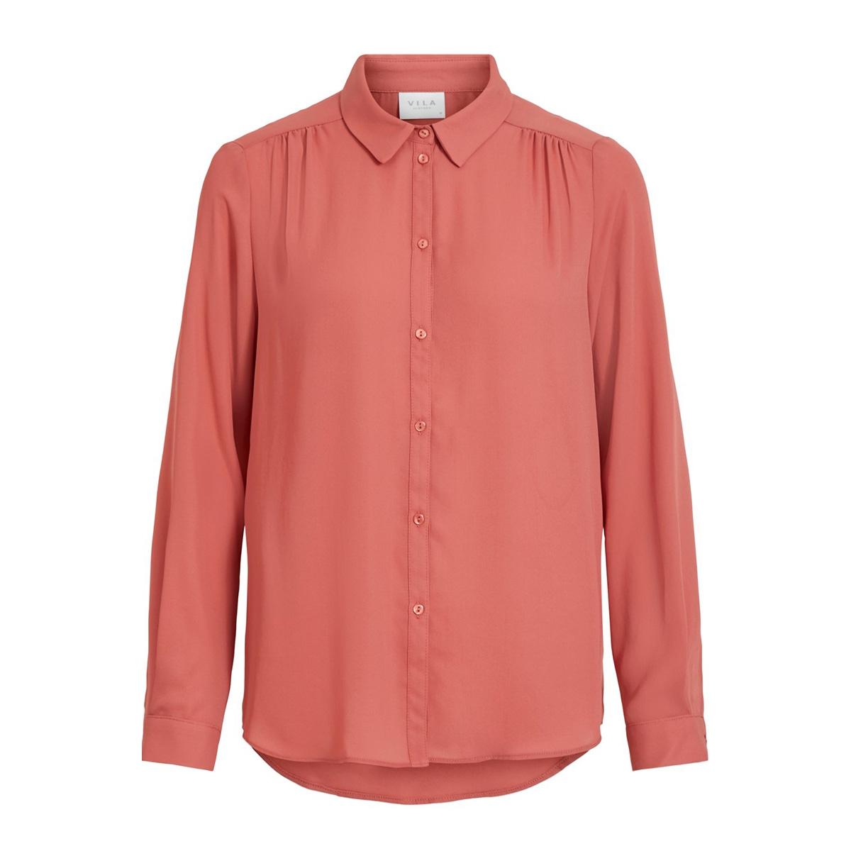 vilucy l/s button shirt - fav 14053374 vila blouse dusty cedar