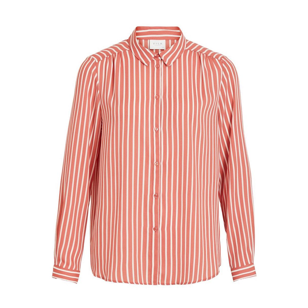 vilucy button l/s shirt - fav lux 14055561 vila blouse dusty cedar/snow white
