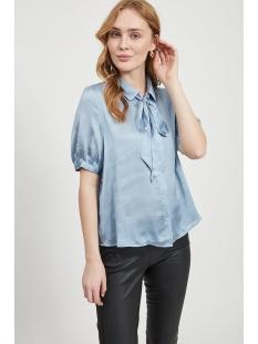 visuwavey s/s bow shirt /su 14056121 vila blouse ashley blue
