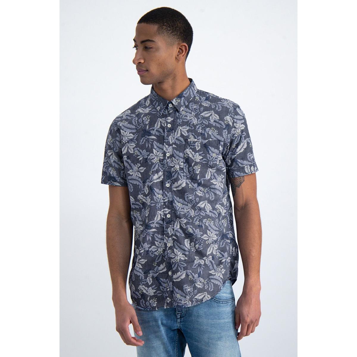 overhemd met botanische print o01037 garcia overhemd 292 dark moon