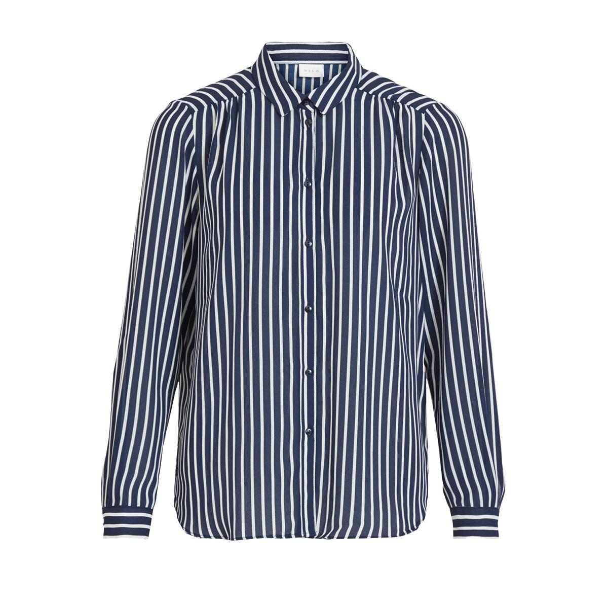 vilucy button l/s shirt - fav lux 14055561 vila blouse navy blazer/snow white