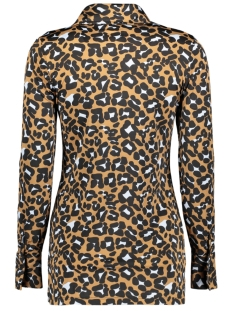 blouse basic 3332 iz naiz blouse brown leopard