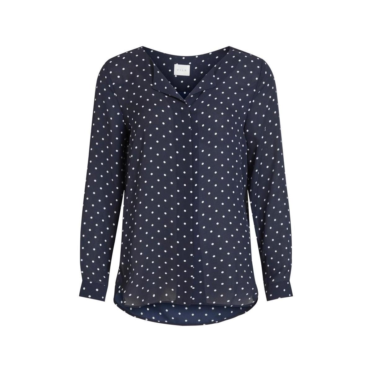 vilucy l/s shirt - fav lux 14049450 vila blouse navy blazer/snow white
