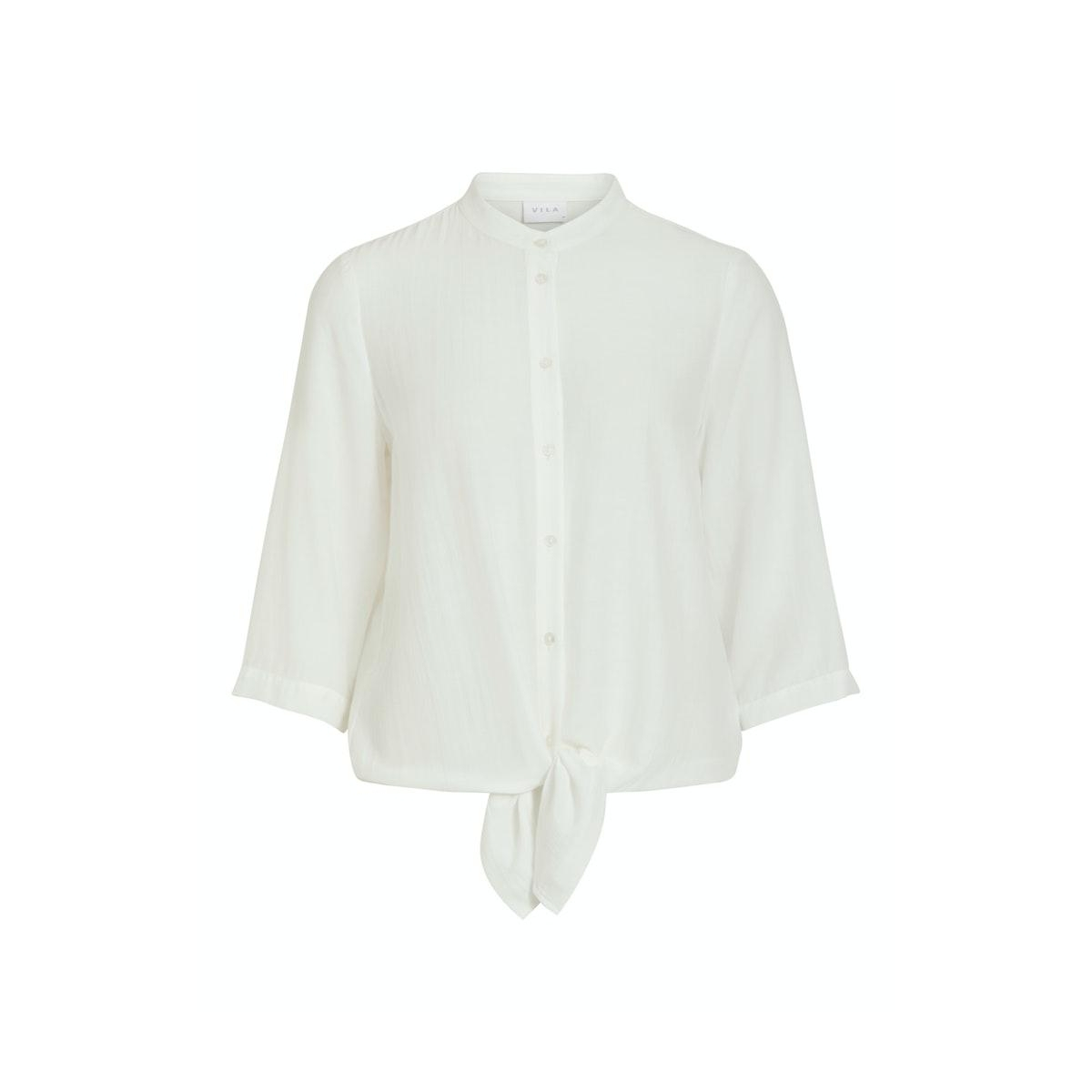 vithoma 3/4 tie shirt - fav nx 14059005 vila blouse snow white