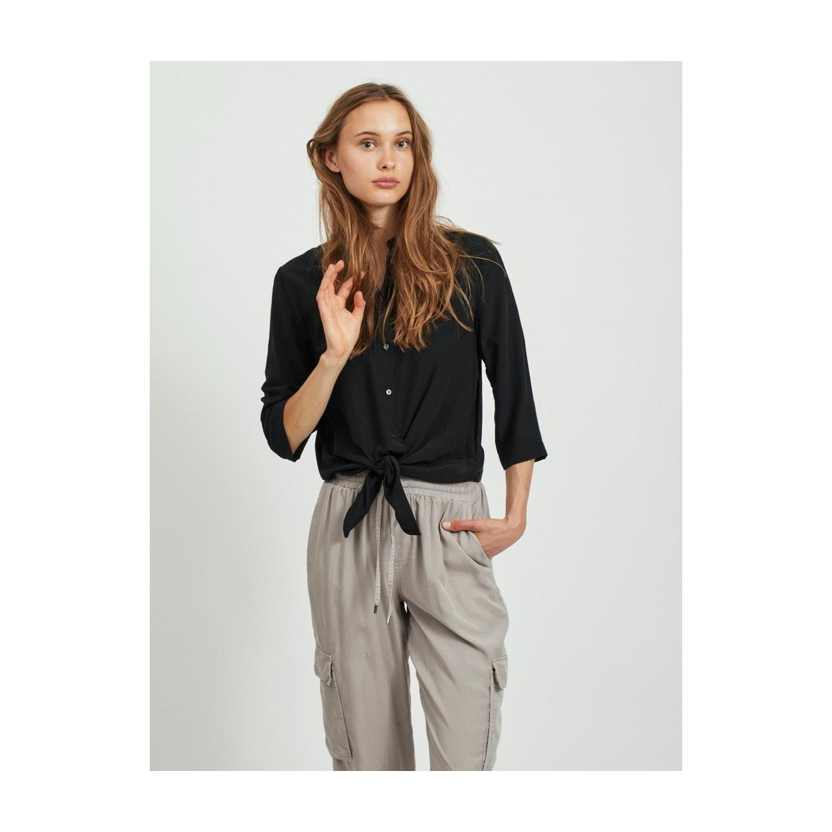 vithoma 3/4 tie shirt - fav nx 14059005 vila blouse black