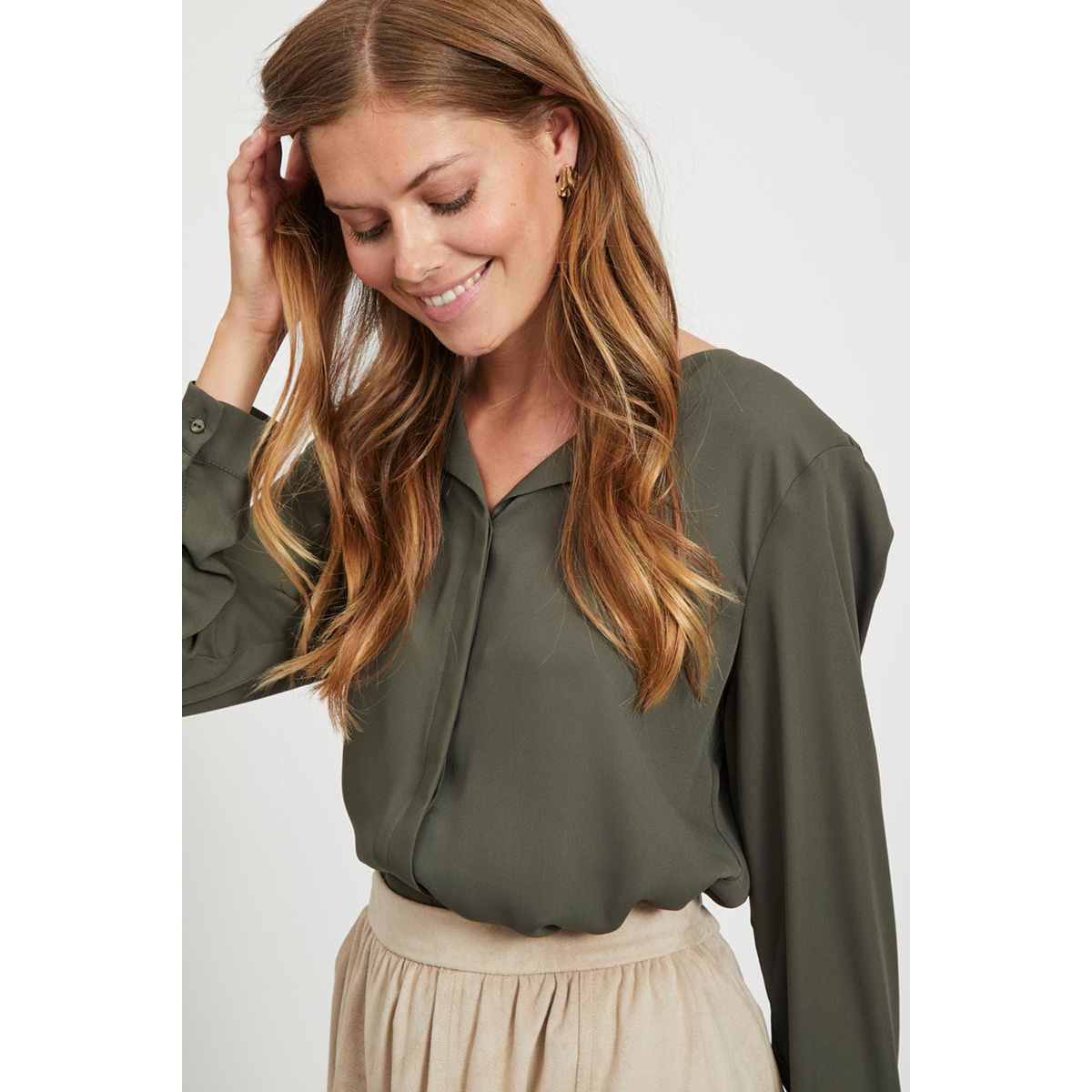vilucy l/s shirt - noos 14044253 vila blouse forest night