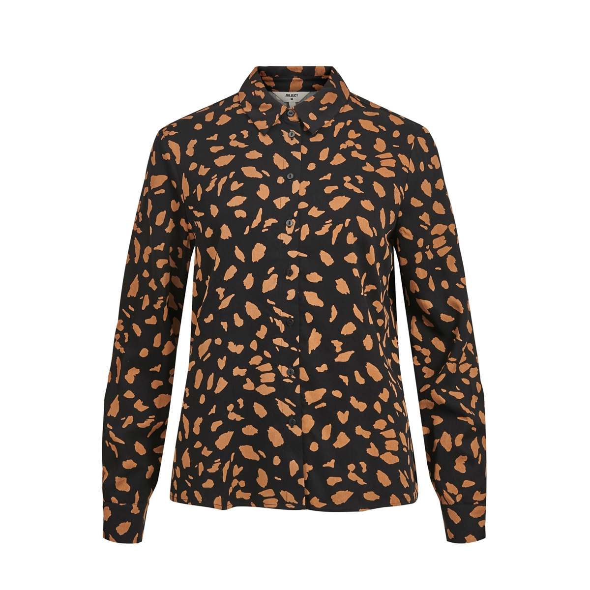 objbaya l/s shirt aop seasonal 23033333 object blouse black/chipmunks
