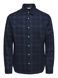 Only & Sons Overhemd onsKLAS  LS CHAMBRAY CHECK SHIRT 22010492 Dark Blue Denim