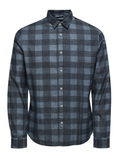 Only & Sons Overhemd onsKLAS  LS CHAMBRAY CHECK SHIRT 22010492 Medium Blue Denim