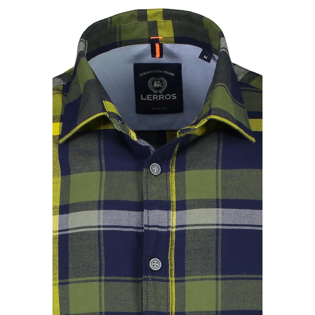 geruit flanellen overhemd 29n1089 lerros overhemd 643