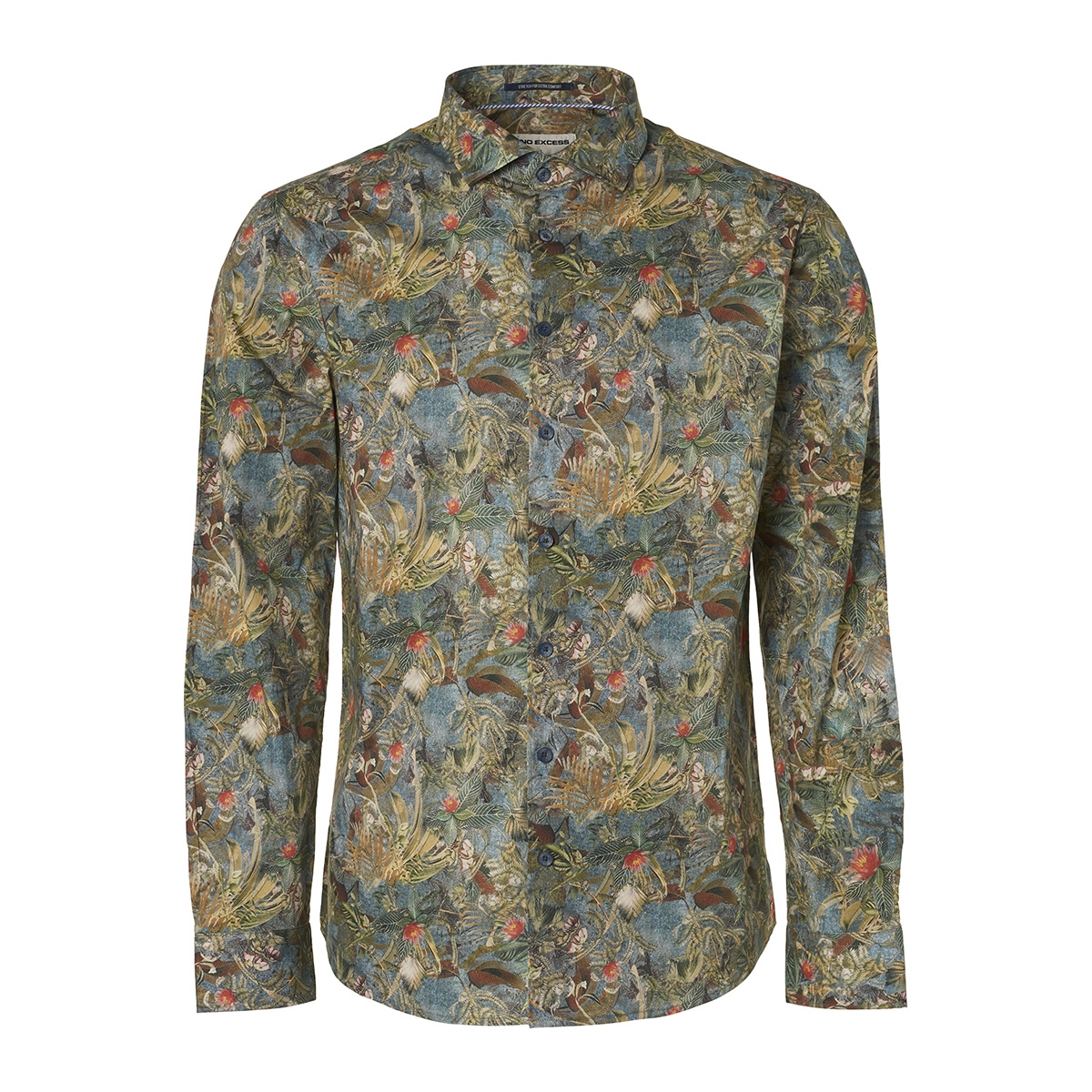 all over printed stretch shirt 95410218 no-excess overhemd 123 steel