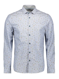 printed stretch shirt 90410106 no-excess overhemd 136 indigo blue