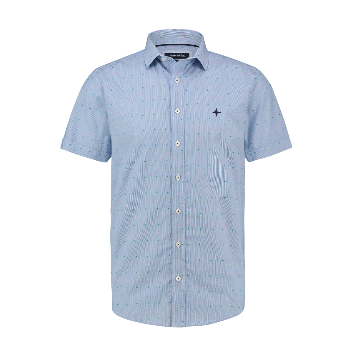 shirt aop stretch mc13 0105 04 haze & finn overhemd stripe fiesta