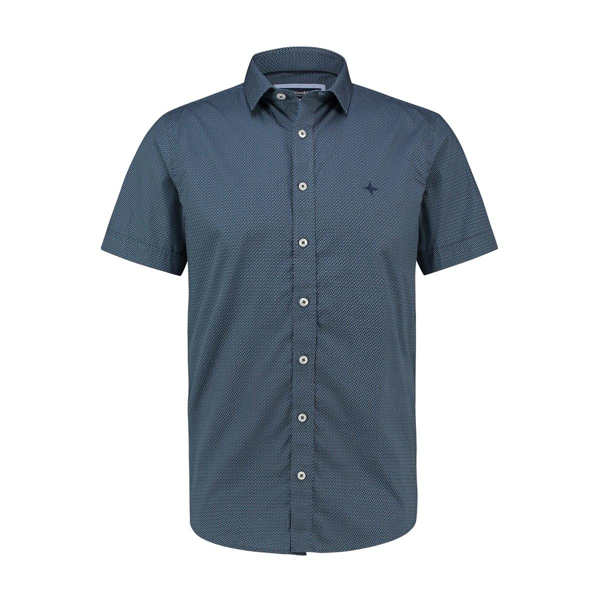 shirt aop stretch mc13 0105 06 haze & finn overhemd bowtie light indigo
