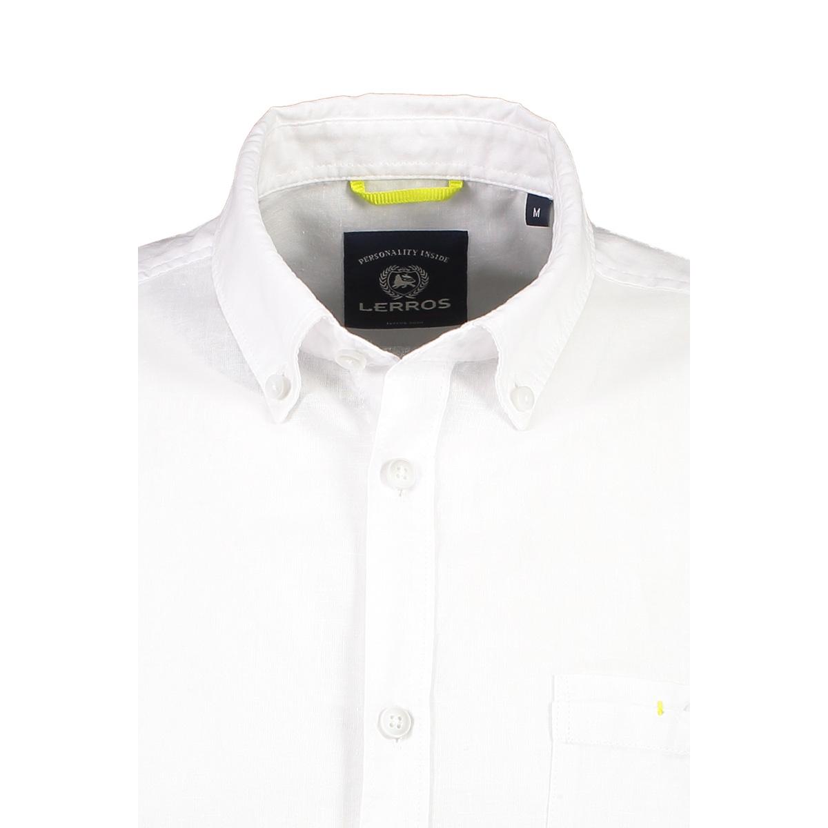 korte mouw overhemd in linnenmix 2042170 lerros overhemd 100