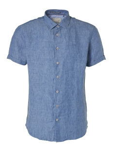 NO-EXCESS Overhemd LINEN SLEEVE SHIRT 95460307 INDIGO BLUE
