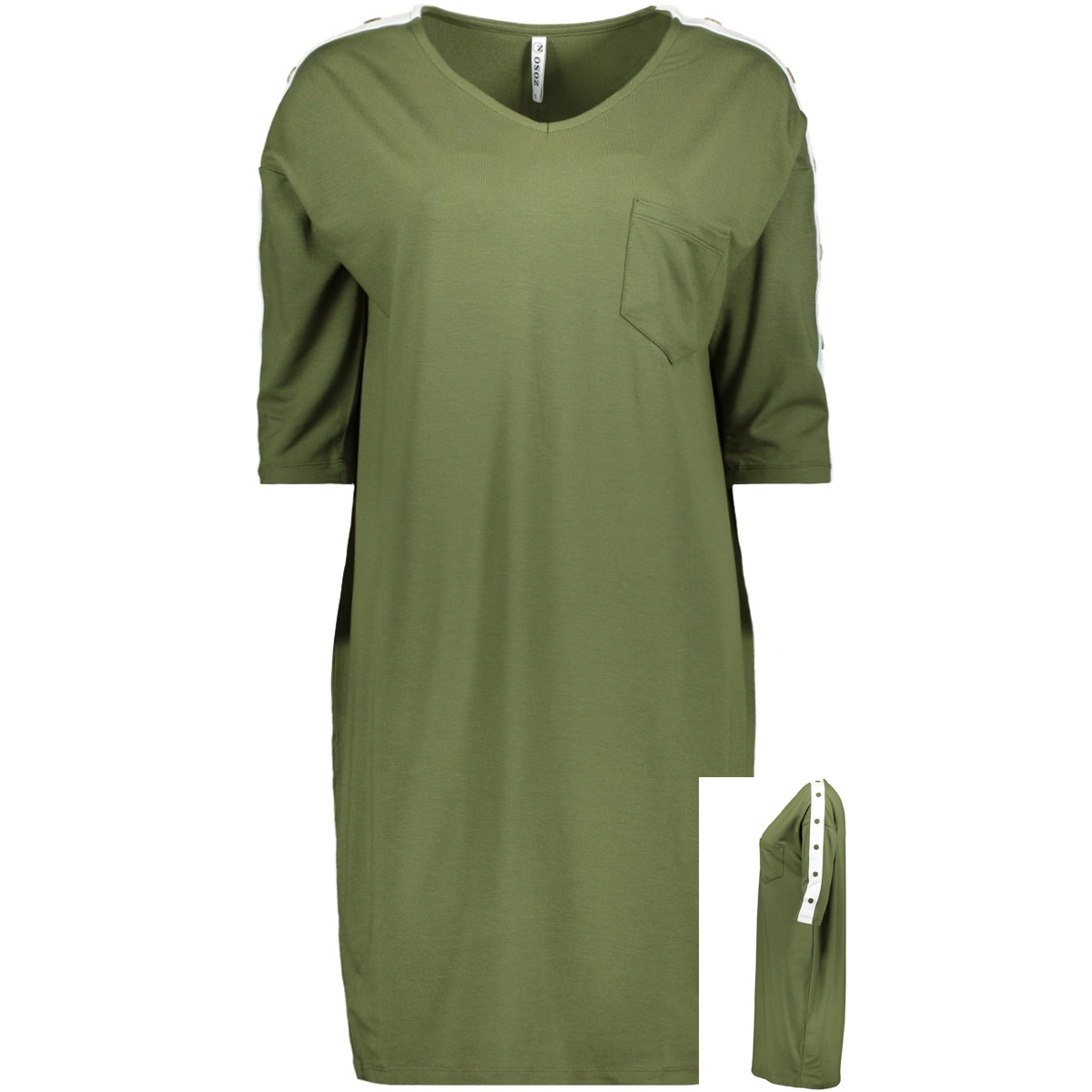 sporty tunic with buttons hr1921 zoso jurk army/offwhite