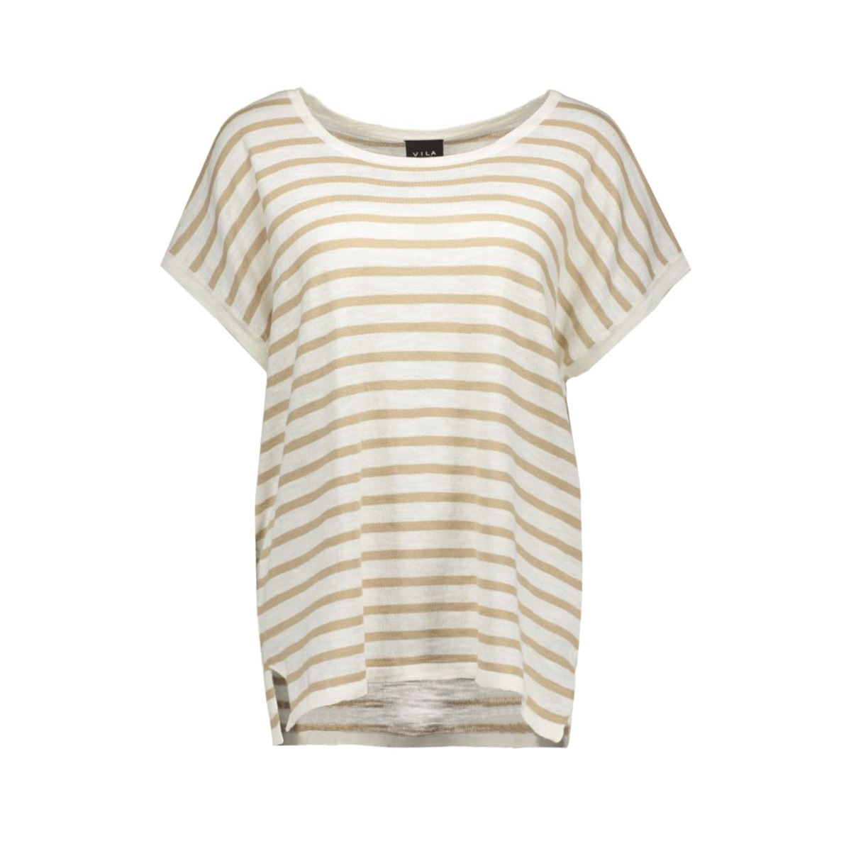 vistarly stripe s/s knit top 14035483 vila t-shirt soft camel
