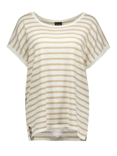 VISTARLY STRIPE S/S KNIT TOP 14035483 Soft Camel