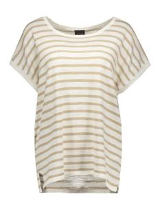vistarly stripe s/s knit top 14035483 vila t-shirt soft camel