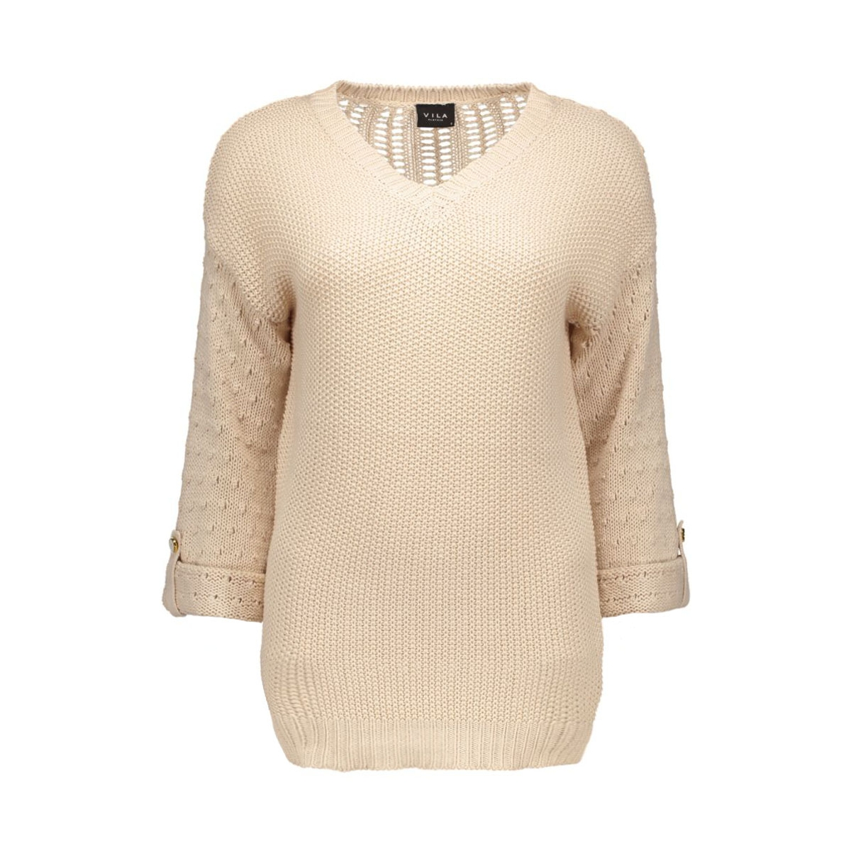 vivera knit top pb 14035487 vila trui shifting sand/with gold