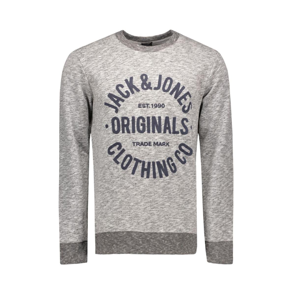 jorclemens sweat crew neck noos 12112149 jack & jones sweater light grey melange