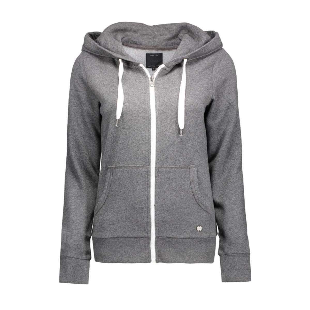 onlfinley ls zip hood noos 15121457 only vest dark grey melange