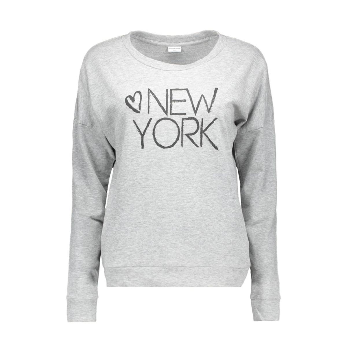 jdynewton l/s print sweat jrs 15120430 jacqueline de yong sweater light grey melange