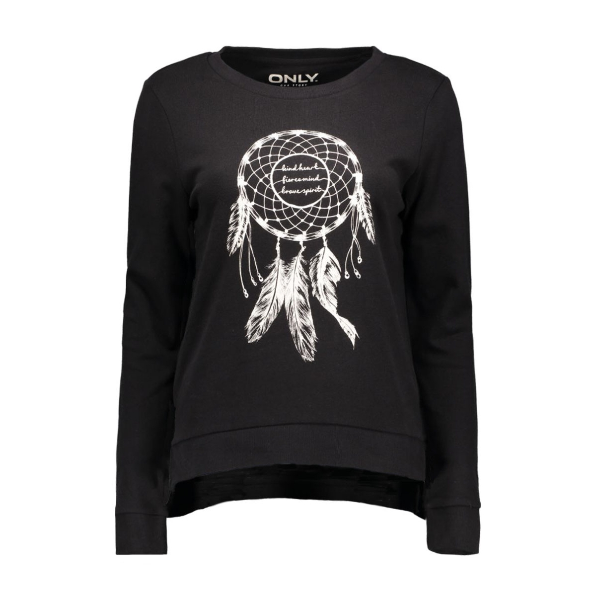onlmicka l/s o-neck print top box 15123812 only sweater black/dream catcher