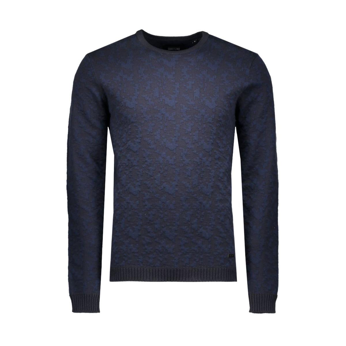 onsdakota crew neck knit 22004104 only & sons sweater dark navy