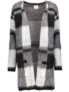 Vero Moda Vest VMDEMI CHECK LS COATIGAN DNM REP 10160142 Black/W. Snow Wh