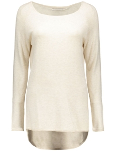 onlmila lacy l/s long pullover knt 15109964 only trui oatmeal / melange