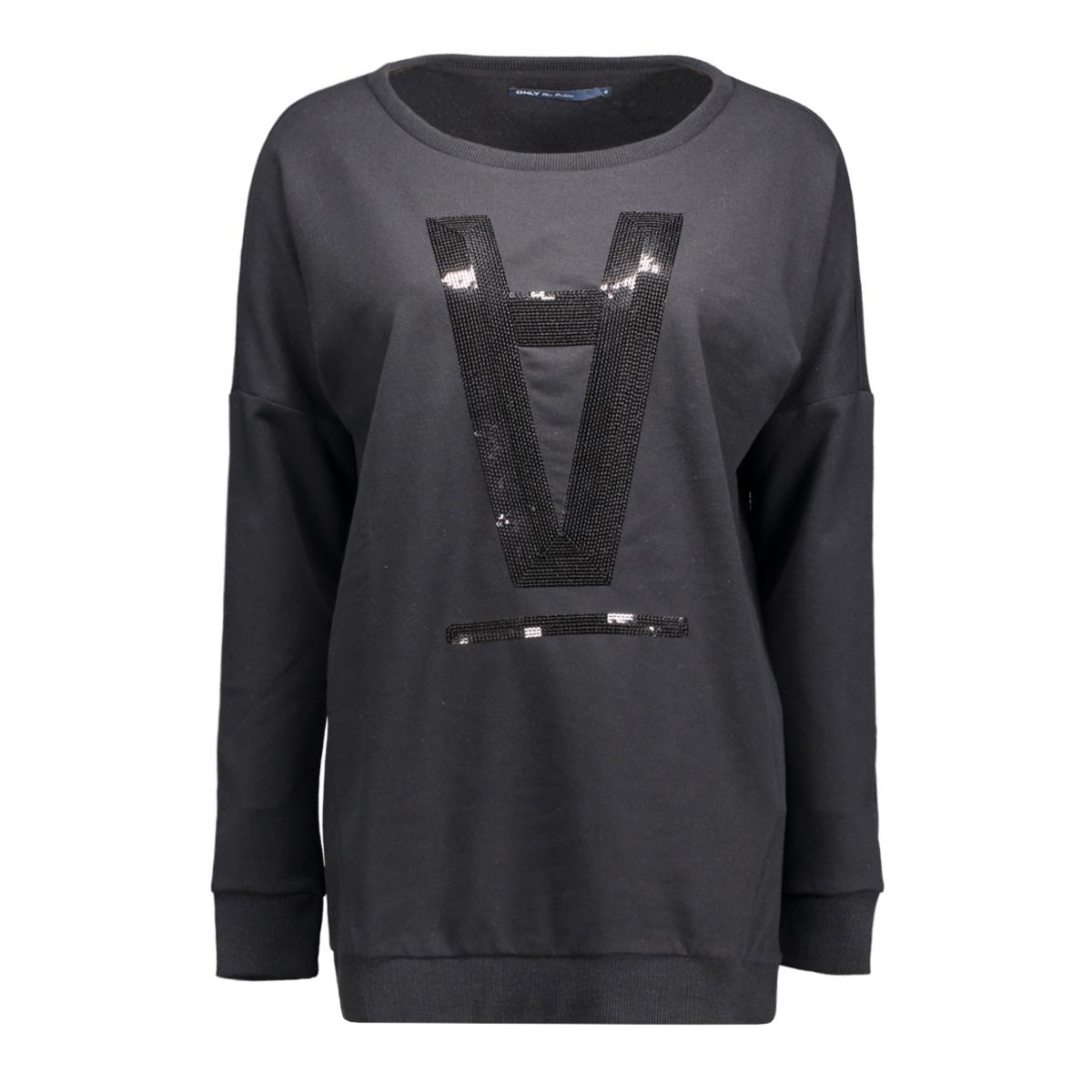 onlstella amour l/s o-neck box swt 15123802 only sweater black