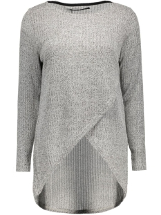onldhaka l/s twist pullover knt 15121387 only trui medium grey mel/w. black