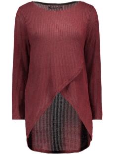 onldhaka l/s twist pullover knt 15121387 only trui syrah/w. black