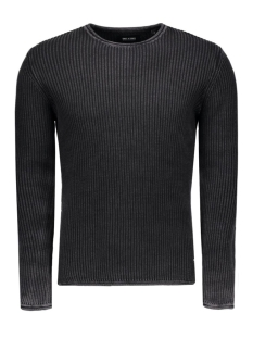 onssato washed crew neck knit 22004335 only & sons trui black