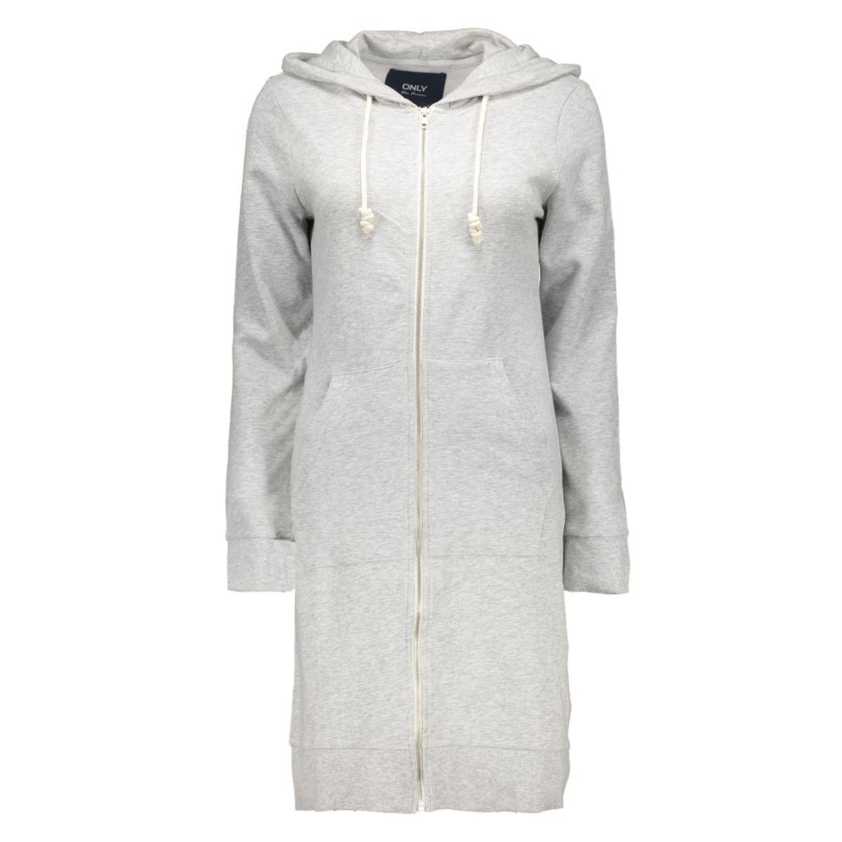 onljane l/s x-long zip hood swt 15123808 only sweater light grey melange