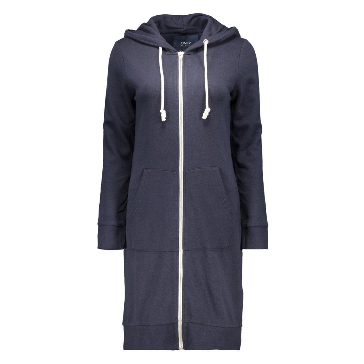 onljane l/s x-long zip hood swt only sweater night sky