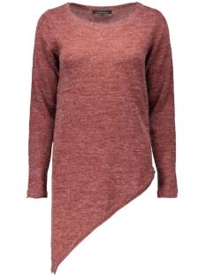 onlnew hayley l/s asym pullover knt 15121375 only trui syrah/w. melange