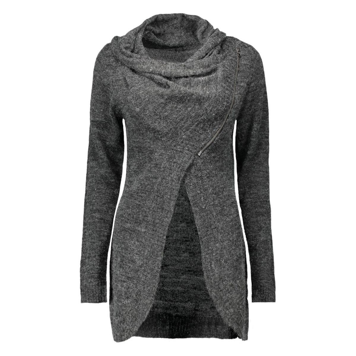onlnew hayley l/s zip cardigan knt 15100922 only vest dark grey melange