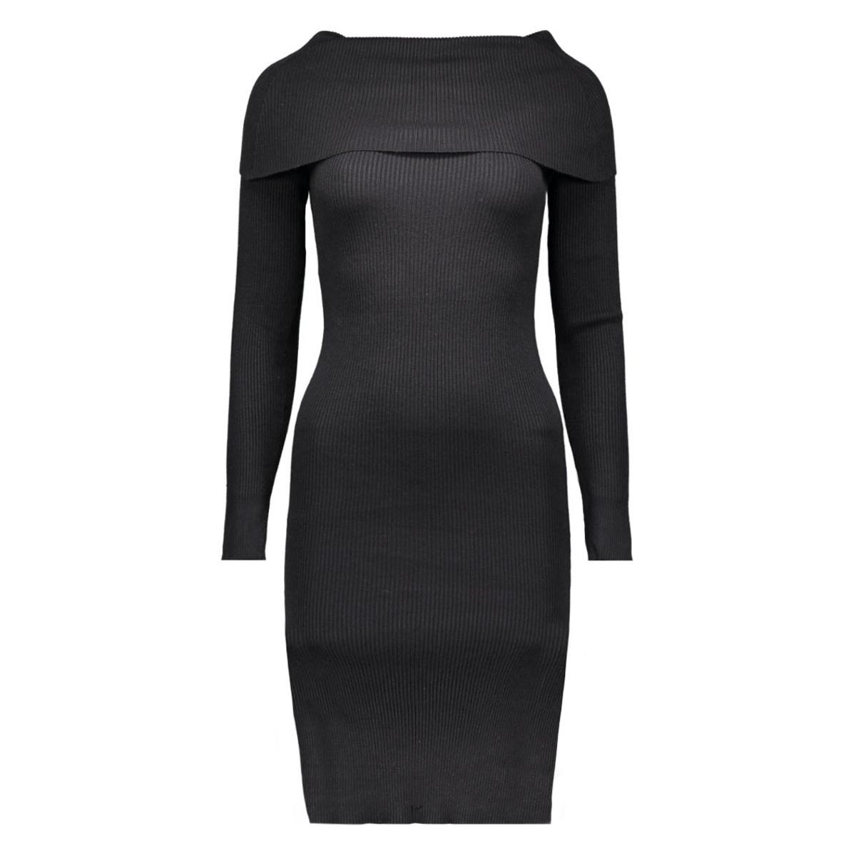 nmmagenta l/s off shoulder knit dress 10158223 noisy may jurk black