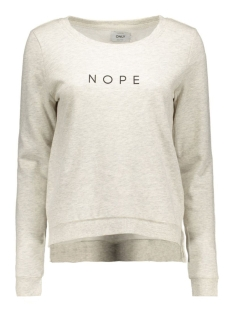 onlSOUND L/S ONECK PRINT BOX SWT 15126713 Oatmeal/Nope