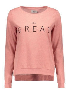 onlSOUND L/S ONECK PRINT BOX SWT 15126713 Ash Rose/Be Great