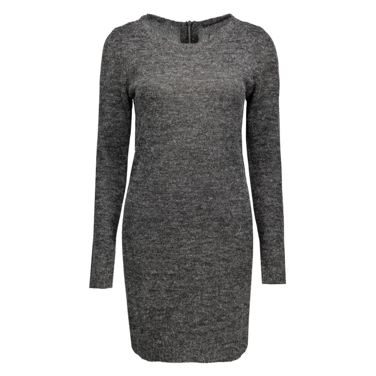 onlnew hayley l/s zipper dress knt 15122432 only jurk dark grey melange