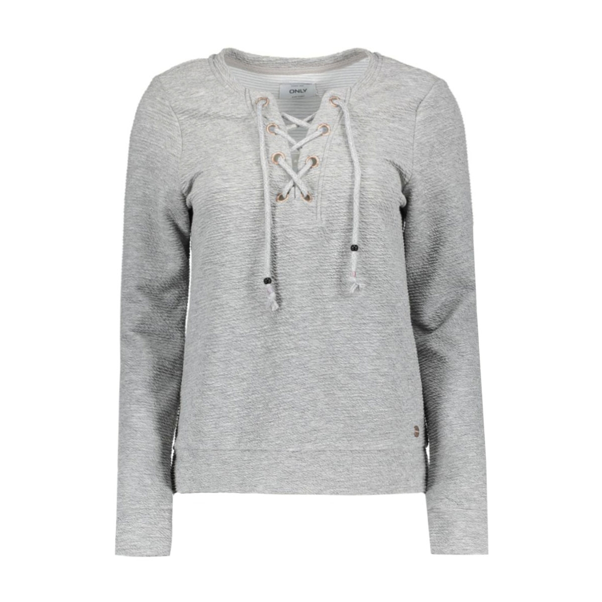 onlamy l/s o-neck lacey swt 15126771 only sweater light grey melange