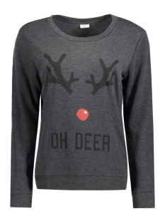 Jacqueline de Yong Sweater JDYPARSON L/S PRINT SWEAT 15126807 Dark Grey Melan/Oh Deer
