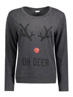 jdyparson l/s print sweat 15126807 jacqueline de yong sweater dark grey melan/oh deer