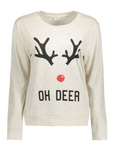 jdyparson l/s print sweat 15126807 jacqueline de yong sweater oatmeal/oh deer