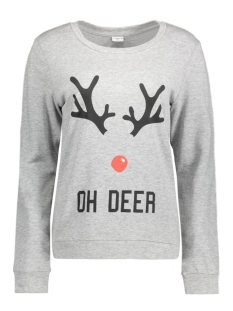 jdyparson l/s print sweat 15126807 jacqueline de yong sweater light grey mela/oh deer