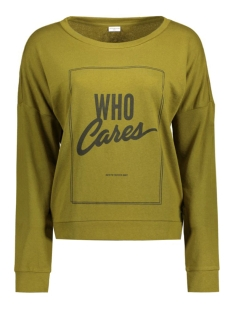 jdycamille l/s sweat jrs 15123193 jacqueline de yong sweater fir green/who cares